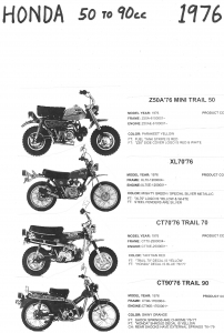 Honda 1976 Z50A, XL70, CT70, CT90