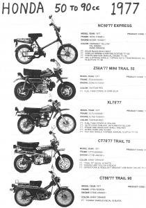 Honda 1977 NC50 Express, Z50A, XL75, CT70,CT90
