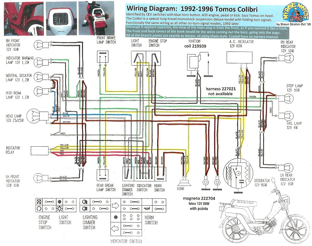 10 2011 tomos moped wiring diagram wiring librarytomos colibri 1992 96 new tomos electrical myrons mopeds