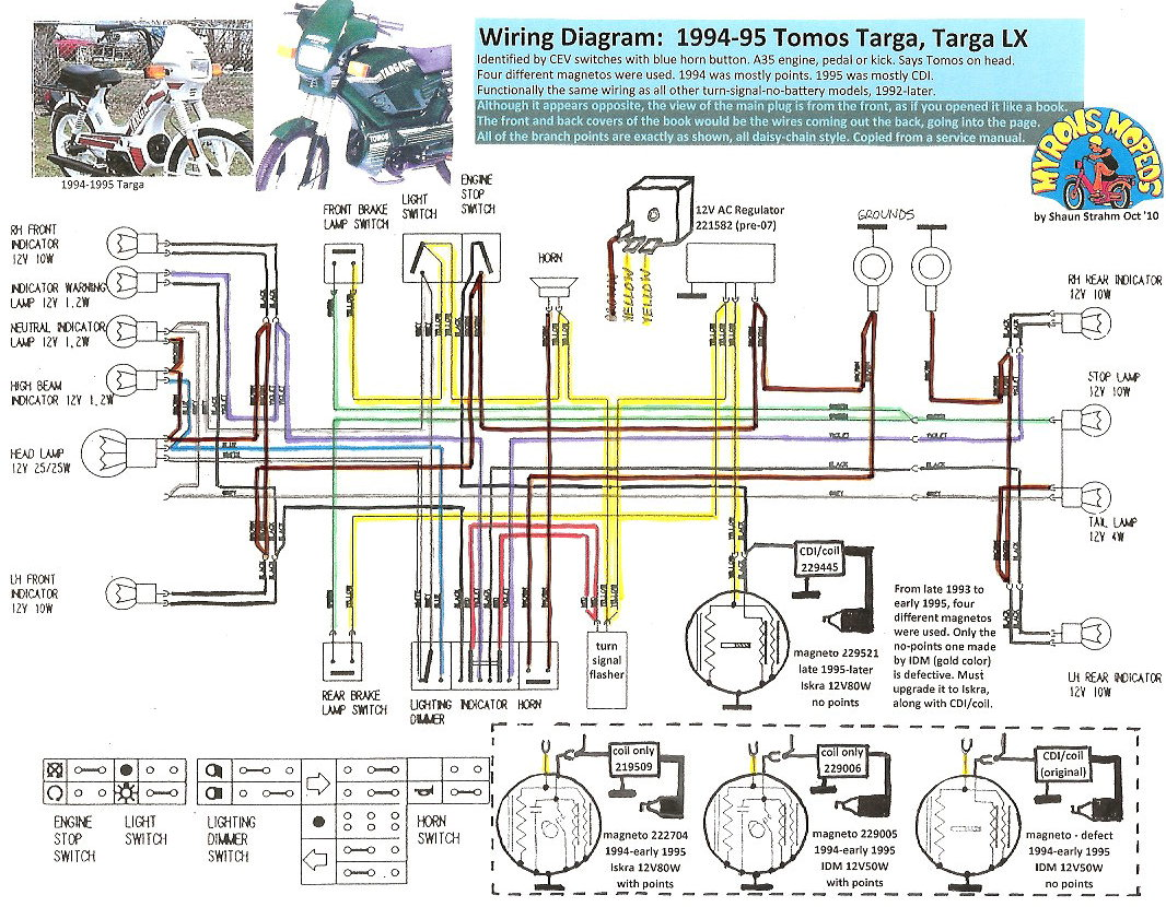 Tomos Wiring 1994 95 TargaLX 100dpi tomos wiring diagrams myrons mopeds 49Cc Scooter Wiring Diagram at eliteediting.co
