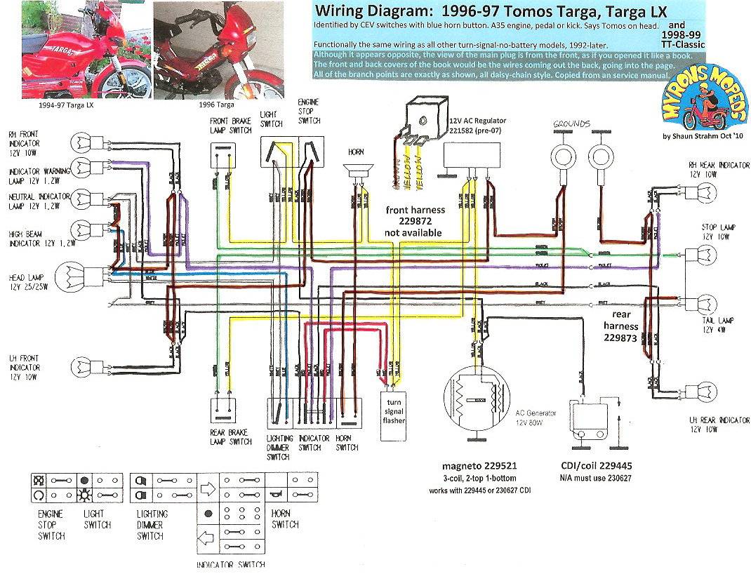 Tomos Wiring 1996 97 TargaLX 100dpi tomos wiring diagrams myrons mopeds 49cc scooter wiring diagram at virtualis.co