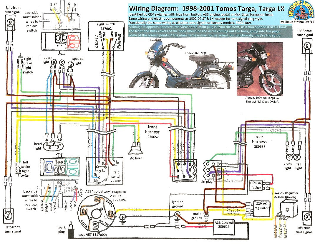 Tomos Wiring 1998 01 TargaLX 100dpi tomos wiring diagrams myrons mopeds honda cg 125 cdi wiring diagram at aneh.co