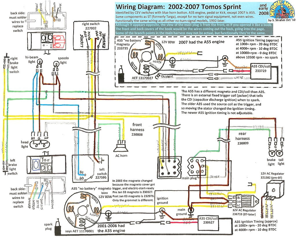 Tomos Wiring 2002 07 Sprint 100dpi new tomos electrical myrons mopeds Ignition Coil Wiring Diagram at gsmportal.co