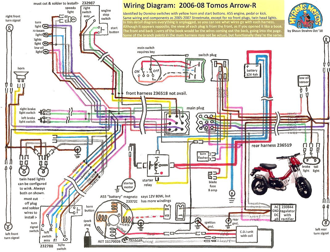 tomos wiring diagrams myrons mopeds charging diagram 03 civic tomos arrow r 2006 08
