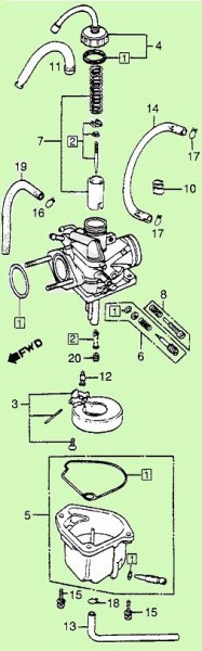 Keihin (1982-83 Honda NU50) carburetor illustration