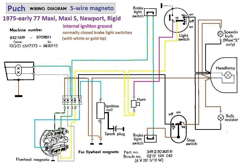 Puch Wiring Diagram 1976 77 5 wire magneto cb360 wiring diagram cl72 wiring diagram wiring diagram ~ odicis Honda CL360 Cafe Racer at webbmarketing.co