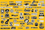 Above, moped logos from the original 2002 black and white Mopeds A-Z Encyclopedia. Click to enlarge.