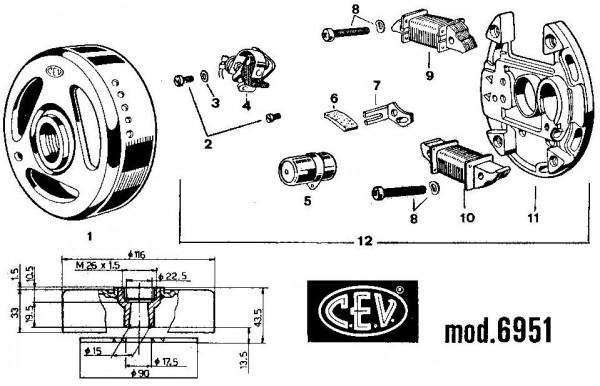 CEV 6951 Magneto 90mm