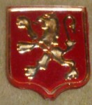 Peugeot 103 side emblem gold on red