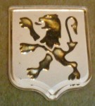 Peugeot 103 side emblem gold on white