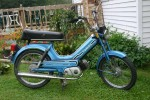 "This 1980 Tomos Bullet has 16"" rims. Tires say ""2.25 - 16"""