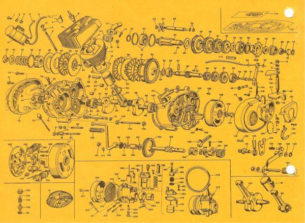 1969-75+ Benelli 65cc 4-speed engine