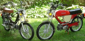 Left, 1977 Negrini Harvard (step thru) with optional Morini MO2 engine, with only 30 miles on the odometer. Right, 1978 Negrini MX Sport (top tank) with standard Morini MO1 engine, with only 138 miles traveled total.