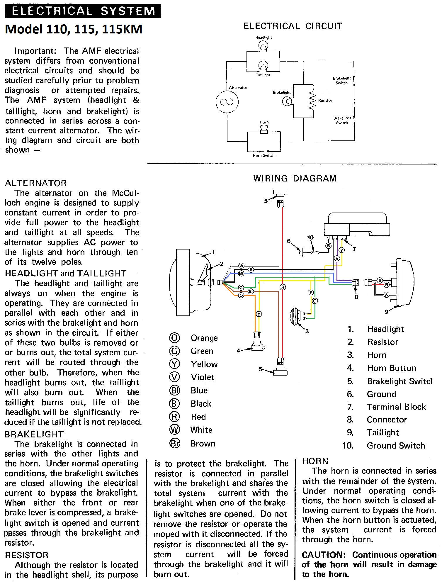 AMF 110 115 115KM Wiring Diagram amf parts myrons mopeds mec scissor lift wiring diagram at panicattacktreatment.co