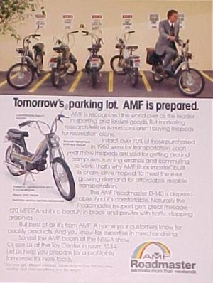 AMF Ad in 1981, when fear of high gas prices made many Americans buy mopeds and small cars.