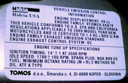 Tomos EPA Labels « Myrons Mopeds
