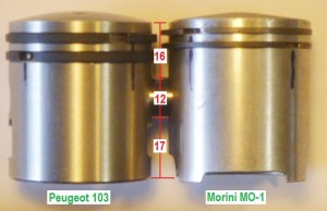 16mm upper height pistons Peugeot left and Morini right