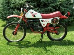 "This 1985 Derbi RD50 has a 21"" front rim, with a ""2.50 - 21"" tire"