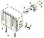 CEV rectangular headlight parts