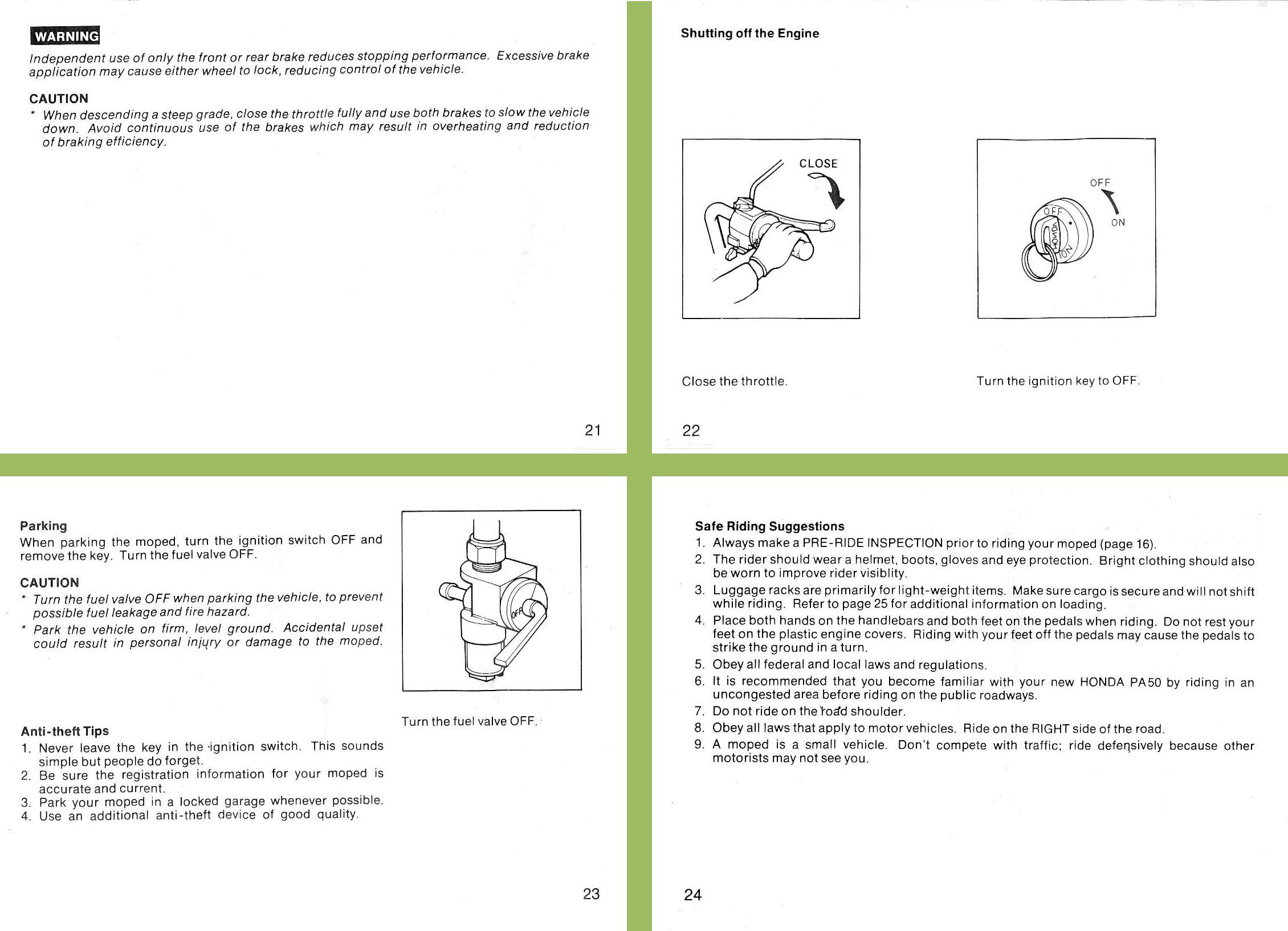 Honda PA50 Owners Manual 21,22,23,24