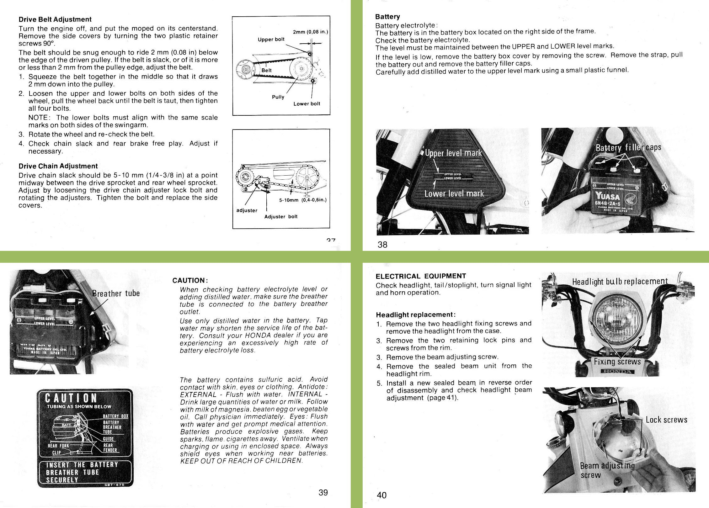 1983 Honda PA50 Owners Manual pages 37383940 honda benelux myrons mopeds 1978 honda pa50 wiring diagram at gsmx.co