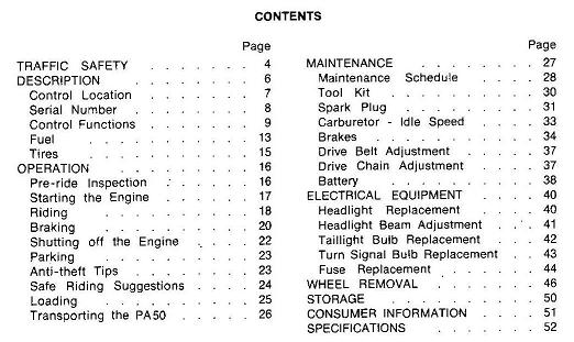 1983 Honda PA50 Owners Manual table of contents