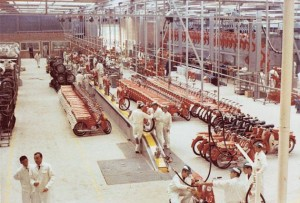 Honda Belgium assembly room in the late 1960's