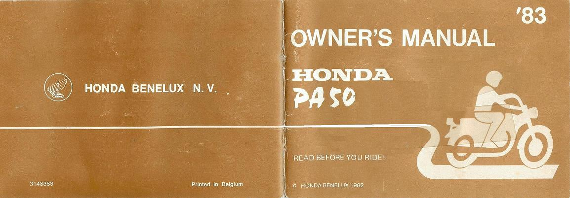 Honda PA50 Owners Manual cover