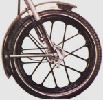 """Snowflake"" wheel made by Grimeca for 2.25-16 tire 90 x 20mm brakes left side sp. driver 1979-1983 black"