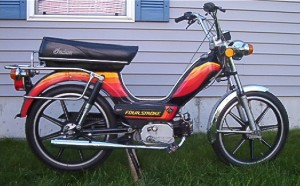 1979 Indian AMI-50 black Sport Mag II whls with warm color stripes