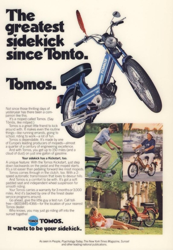 1978 Tomos Ad The greatest sidekick since Tonto 600x868 tomos models myrons mopeds  at mifinder.co