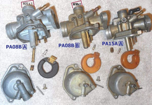 Honda Express carburetor versions, showing things that are different.