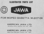 Jawa 207.011 Parts Book cover