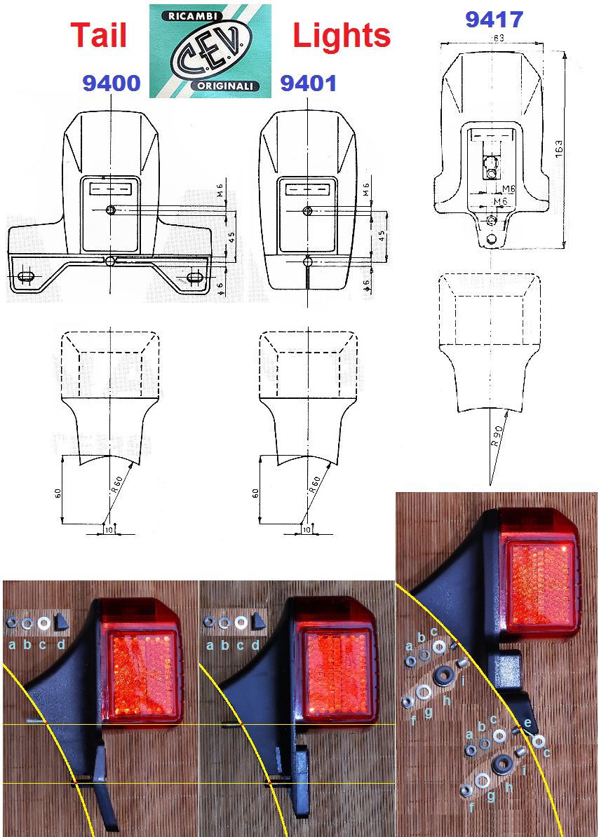 Tail Lights Myrons Mopeds Dot Trailer Light Diagram 9400 And 9401 Are Solid Mount M6 Stud A Plastic Post 9417 Is Either Or Flexible Bolt