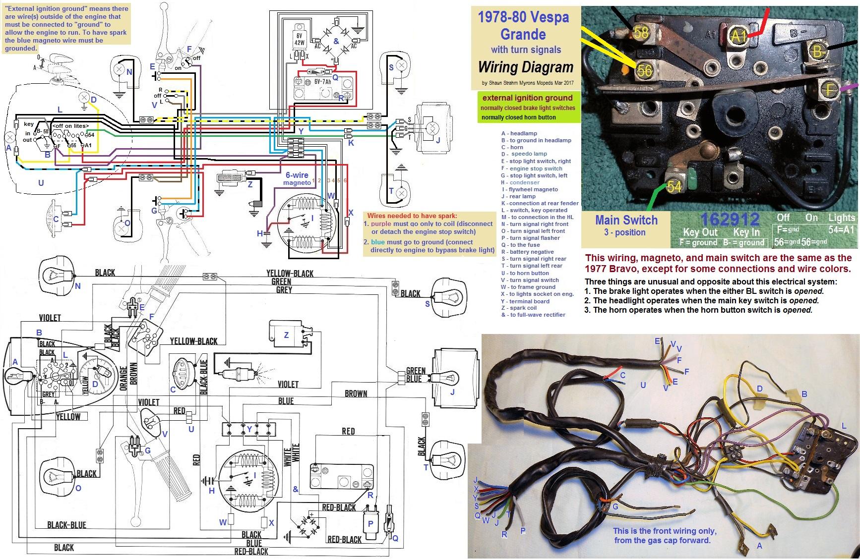 Vespa Ignition Wiring Diagram : Vespa p e ignition switch wiring diagram