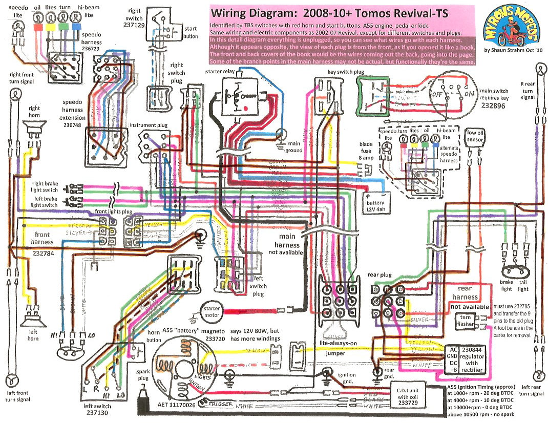 50cc Scooter Key Switch Wiring Diagram New Tomos Electrical Myrons Mopeds Revival 2008 12