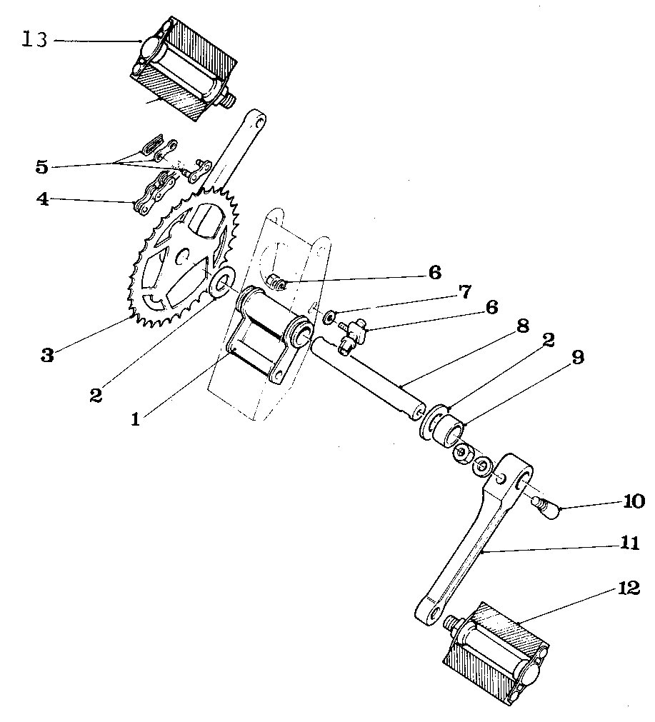 Solex Parts Myrons Mopeds Bicycle Diagram And List For Sears Bicycleparts Model Figure 11 Pedal Assembly