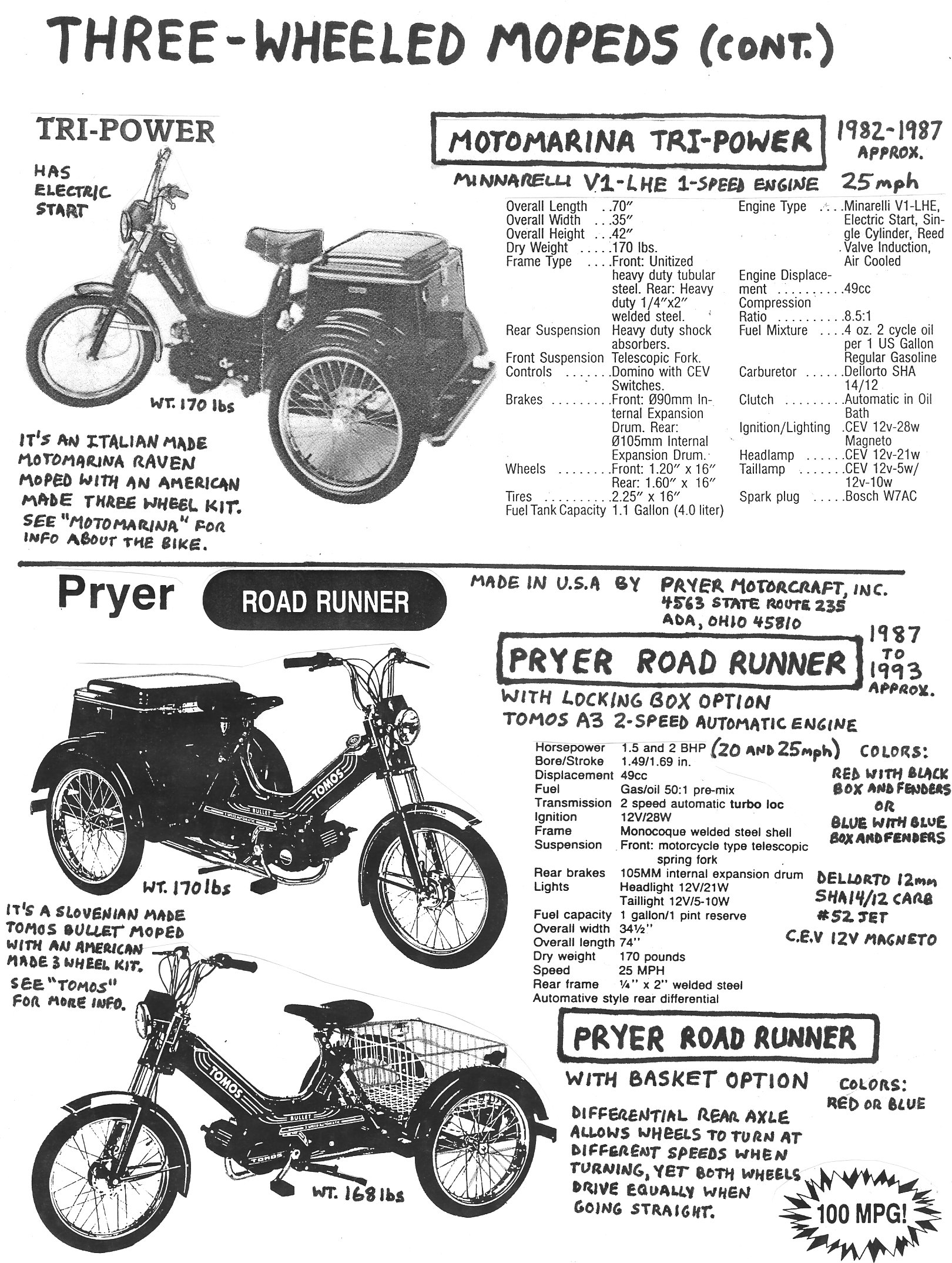 American Made Moped Parts Myrons Mopeds 1954 Allstate Scooter Wiring Diagram Info Three Wheeler 2